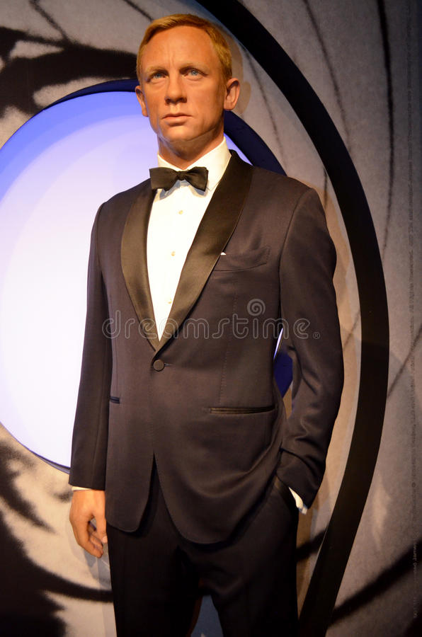 Daniel Craig. London, - United Kingdom, 08, July 2014. Madame Tussauds in London. Waxwork statue of Daniel Craig. Created by Madam Tussauds in 1884. Madam royalty free stock photos