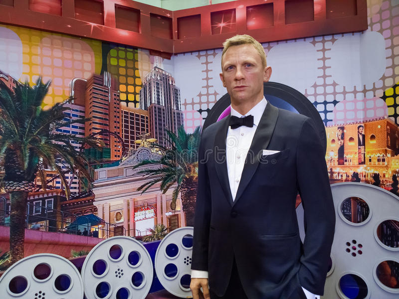 Daniel Craig. Wax statues at the museum stock photo