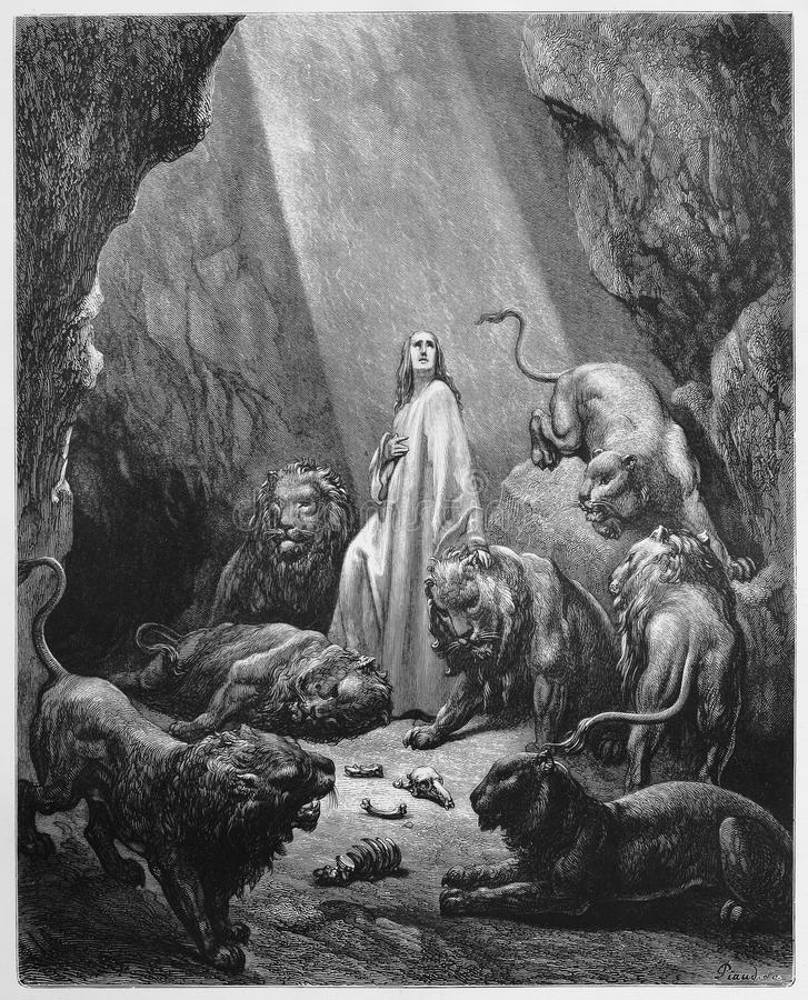 Daniel dans le repaire de lions images libres de droits