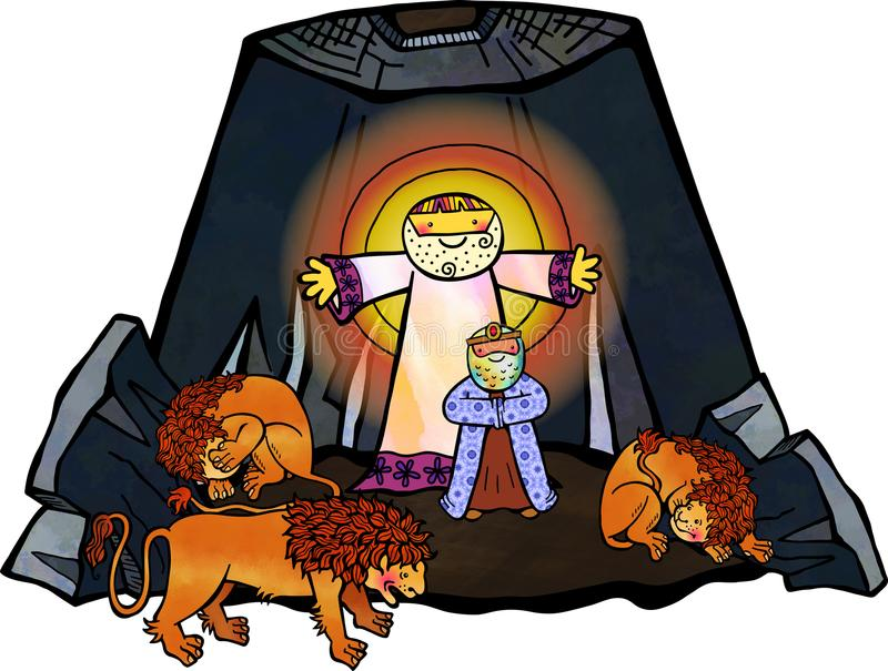 Daniel in der Löwe-Höhle lizenzfreie abbildung