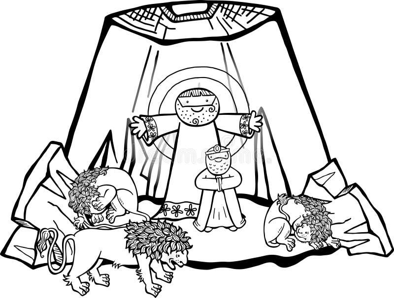 Daniel in der Löwe-Höhle stock abbildung