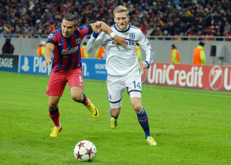 Daniel Georgievski i Andre Schurrle Steaua Chelsea obrazy royalty free