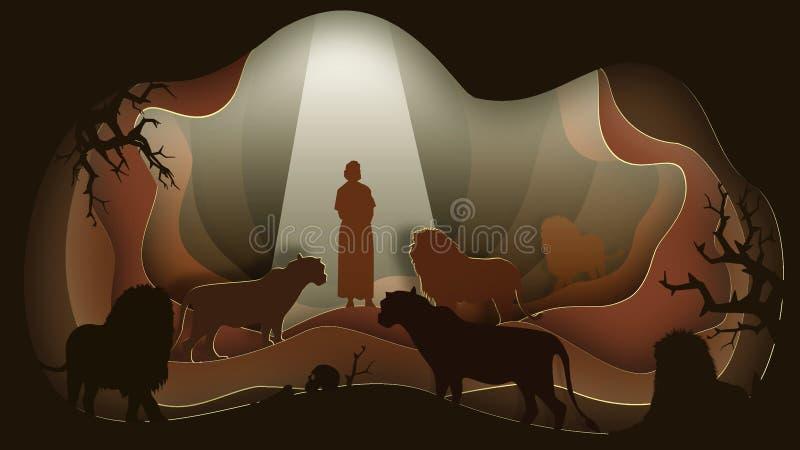 Daniel no antro do leão Arte de papel ilustração stock