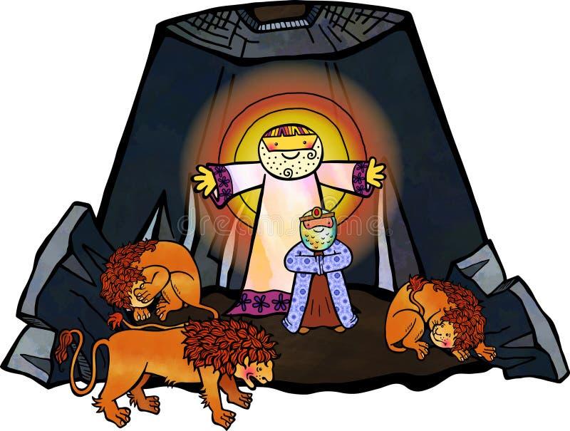Daniel no antro dos leões ilustração royalty free