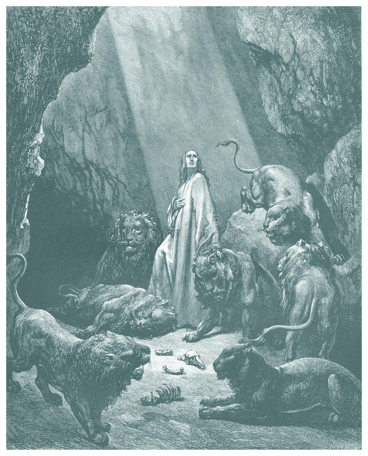 Daniel no esboço do antro dos leões ilustração royalty free