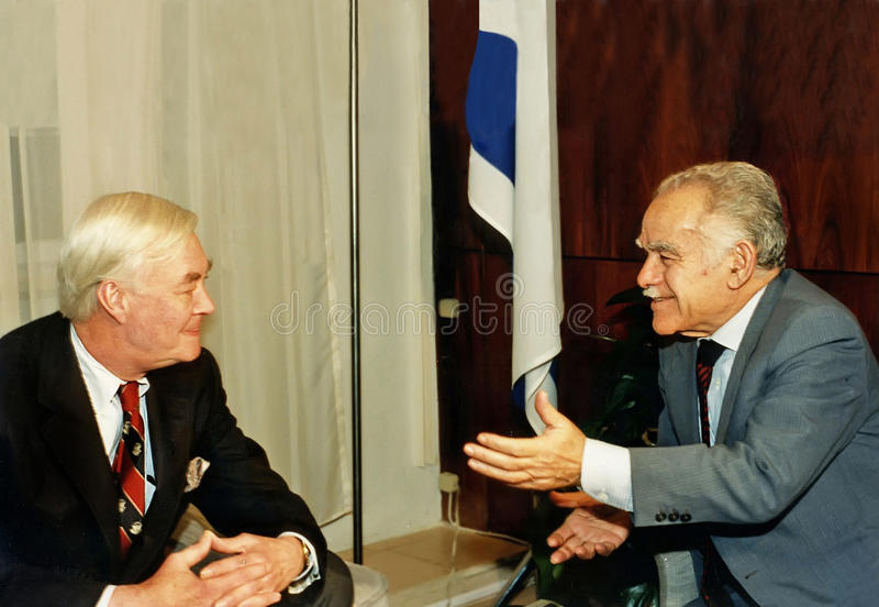 Daniel Patrick Moynihan and Yitzhak Shamir. Senator (D-NY) Daniel Patrick Moynihan engages in discussion with Israel Prime Minister Yitzhak Shamir in Shamir's royalty free stock photo