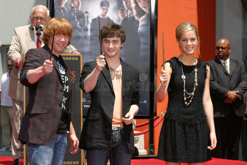 Daniel Radcliffe, Emma Watson, Daniel Radcliff, Rupert Grint stock foto's