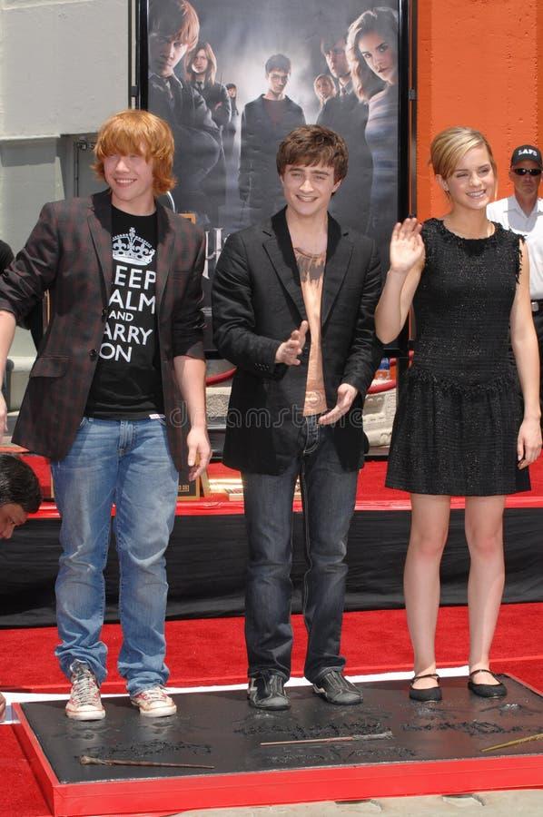Daniel Radcliffe, Emma Watson, Rupert Grint lizenzfreie stockfotografie