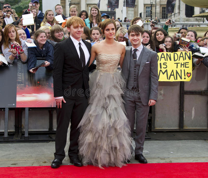 Daniel Radcliffe, Emma Watson, Rupert Grint, Daniel Radcliff lizenzfreies stockfoto
