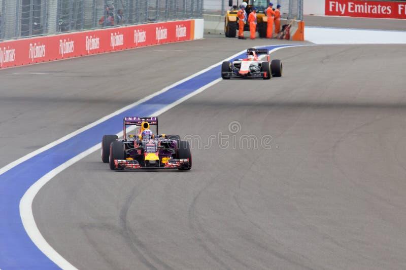 daniel ricciardo tävlings- red för tjur Formel en Sochi Ryssland royaltyfri bild