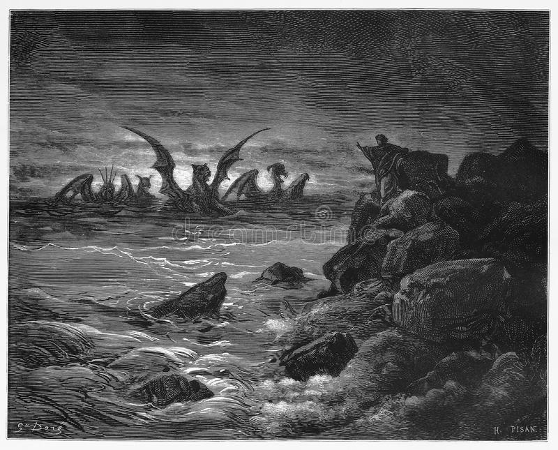 Daniel's vision of the four beasts. Picture from The Holy Scriptures, Old and New Testaments books collection published in 1885, Stuttgart-Germany. Drawings vector illustration