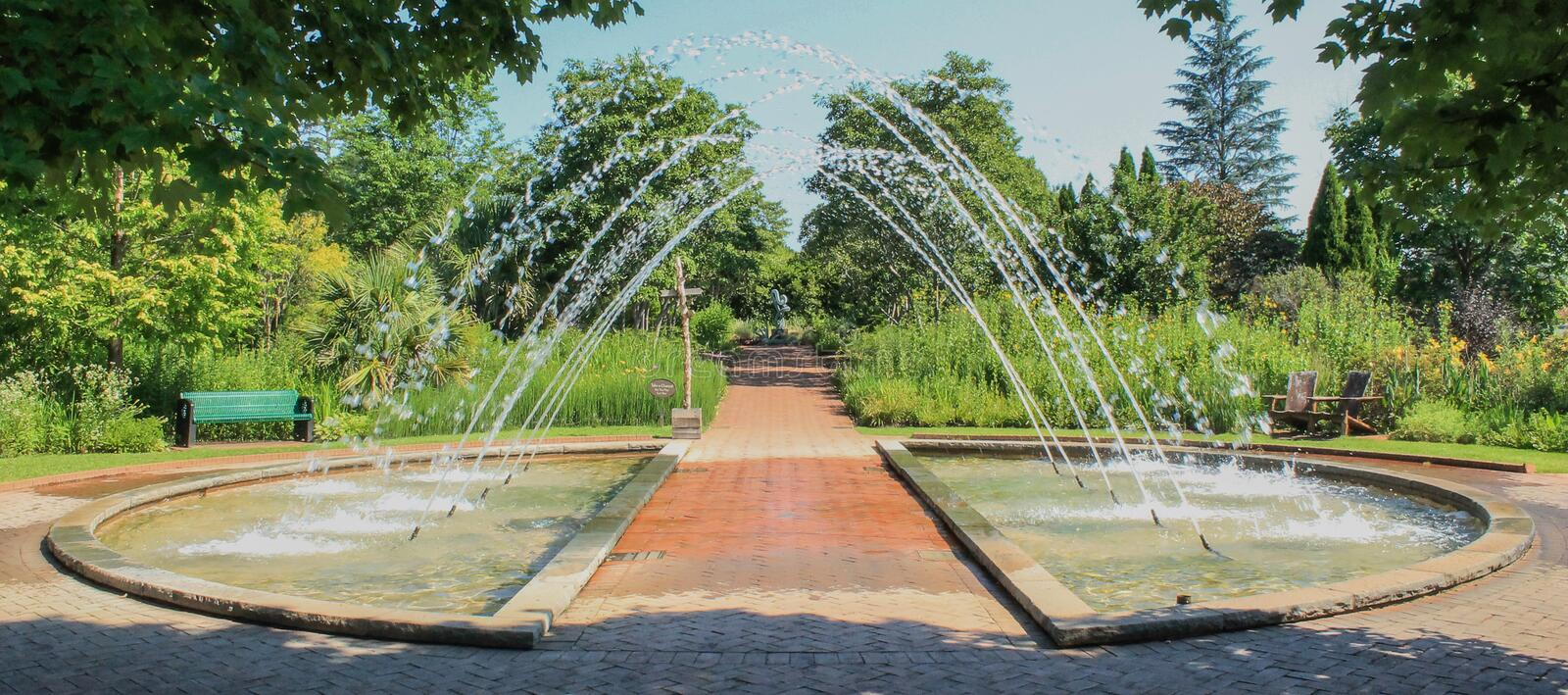Daniel Stowe Arch Fountain. Arched water fountain at the Daniel Stowe Botanical Garden in Belmont NC stock photo