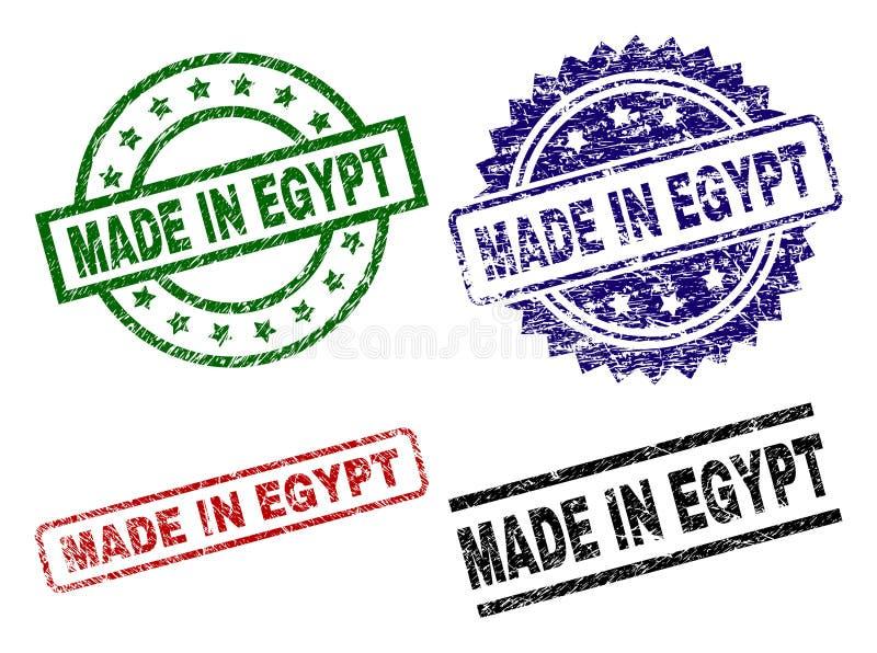 Danificado Textured FEITO em selos do selo de EGIPTO ilustração stock