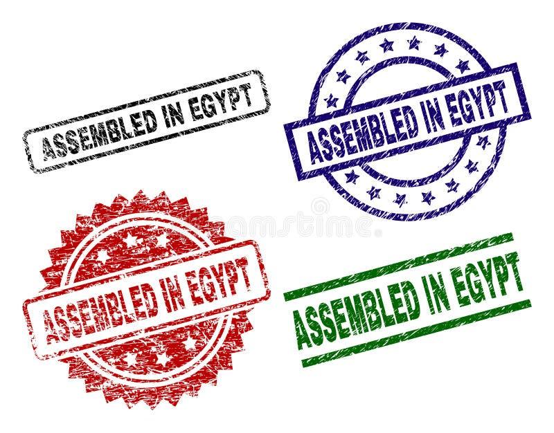 Danificado Textured MONTADO em selos do selo de EGIPTO ilustração royalty free
