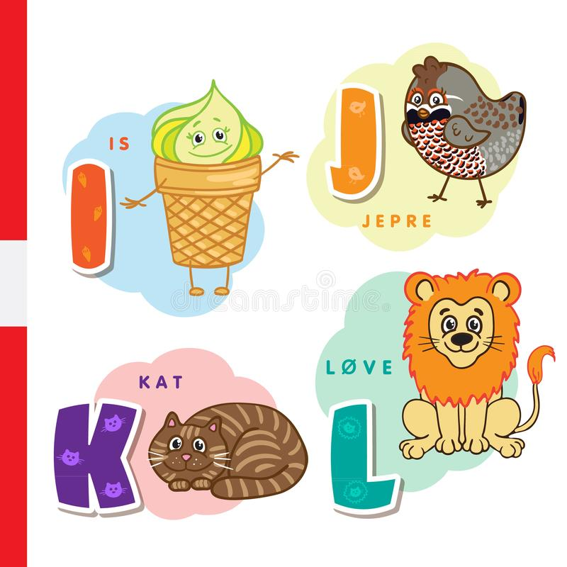 Danish alphabet. Ice cream, hazel grouse, cat, lion. Vector letters and characters. stock illustration