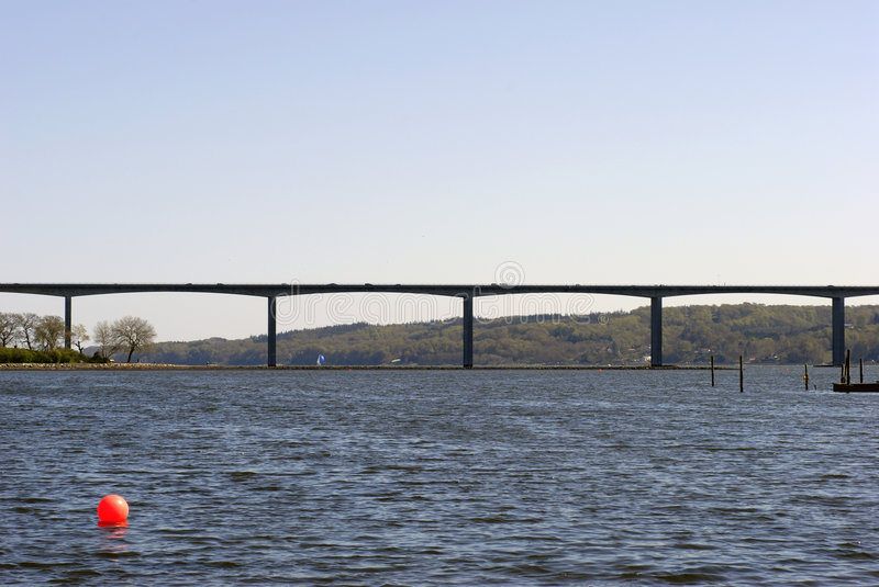 Danish bridge crossing Vejle Fjord stock image