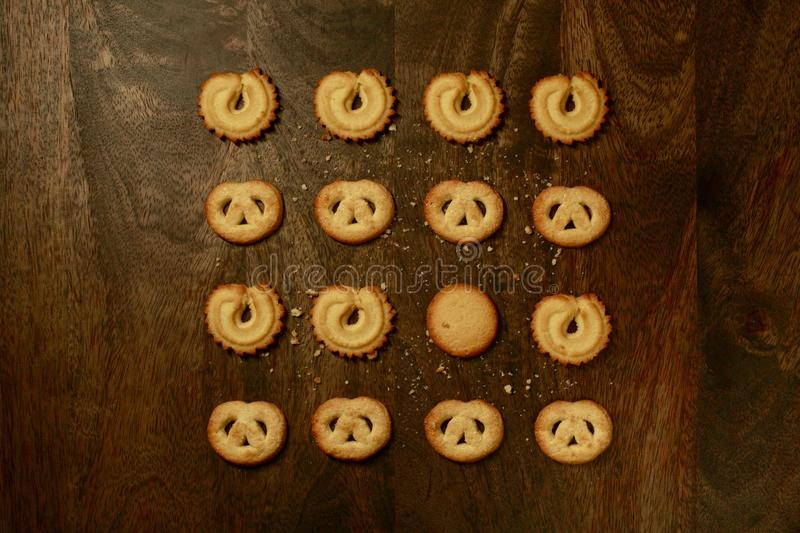 Danish Butter Cookies for Holidays & x28;Overhead View& x29; on Brown Table royalty free stock photo