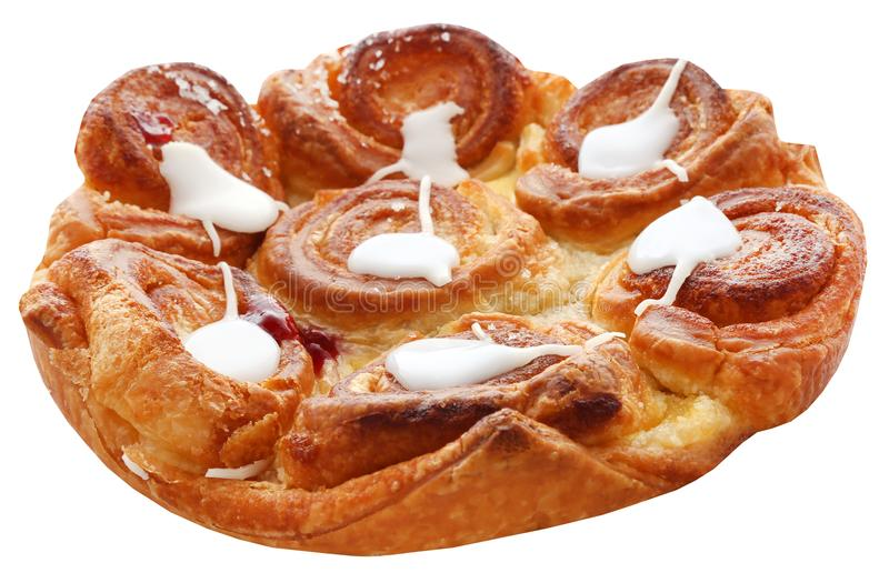 Danish cheesy pastry. Freshly prepared Danish cheesy pastry over white background stock images