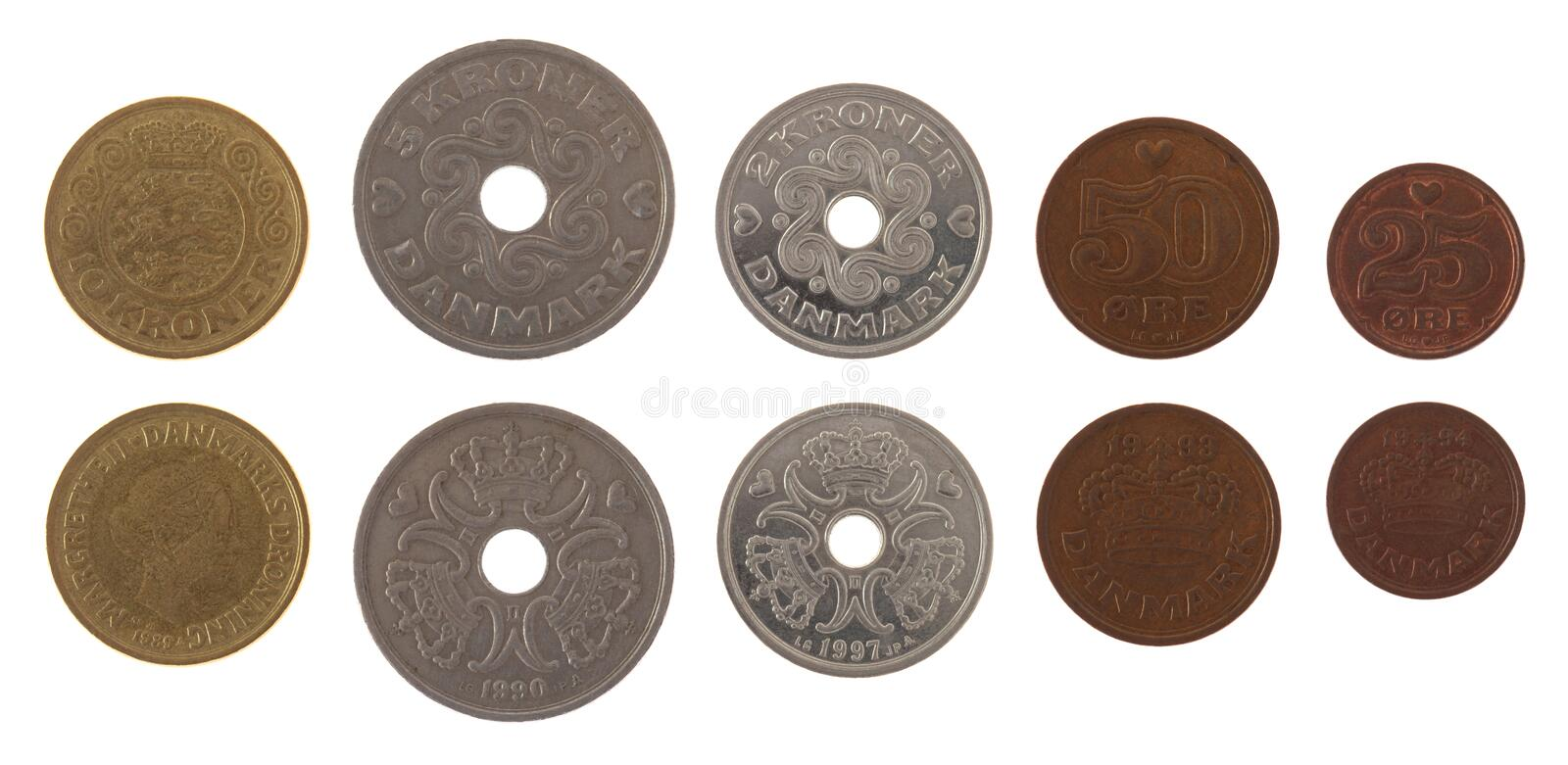 Danish Coins Isolated on White stock image