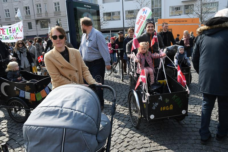 DANISH FAMIESI COME OUT TO PROTEST RALLY royalty free stock images
