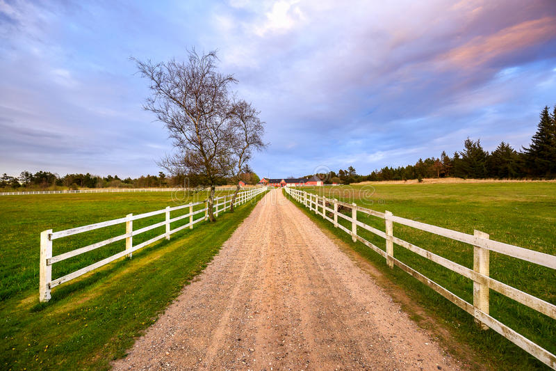 Danish farm house with fence royalty free stock images