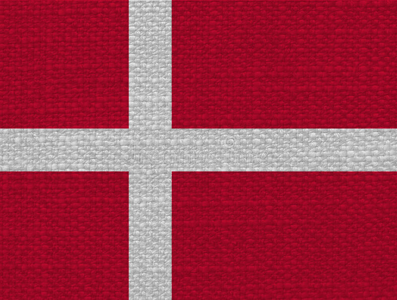 Danish Flag of Denmark with fabric texture royalty free stock images