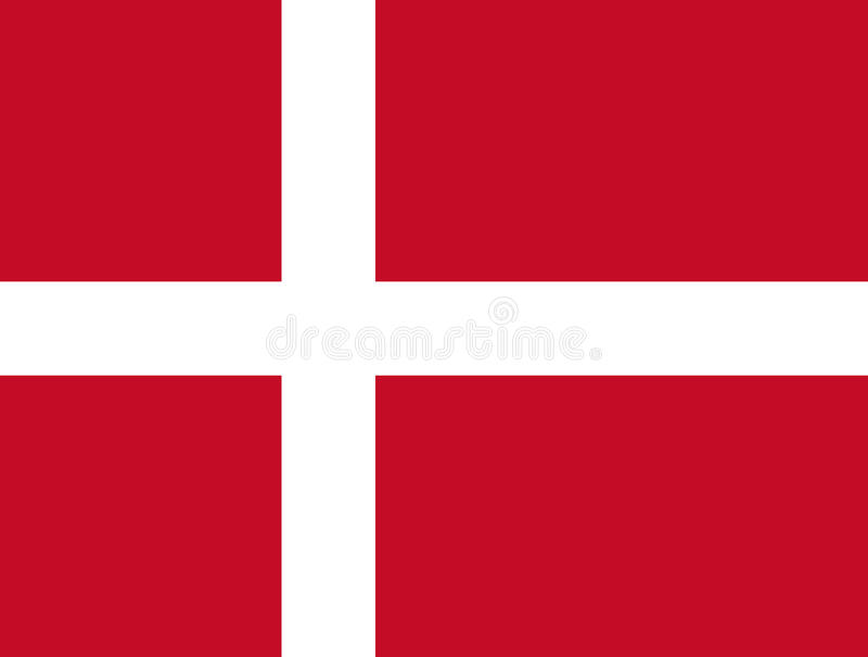 Danish flag, flat layout, vector illustration stock illustration
