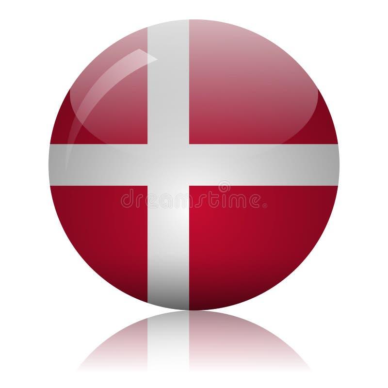 Danish flag glass icon vector illustration stock illustration