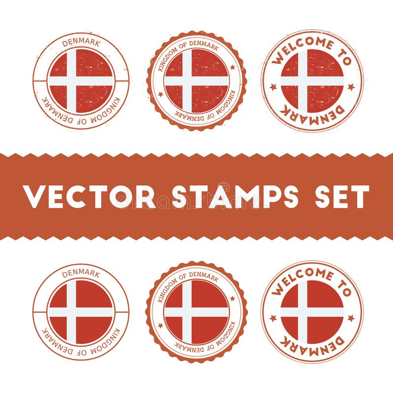 Danish flag rubber stamps set. stock illustration