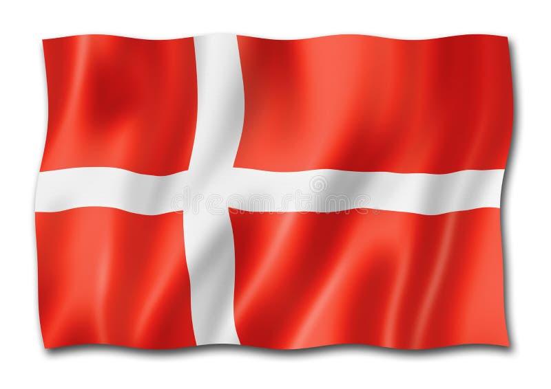 danish flaga odosobniony biel royalty ilustracja