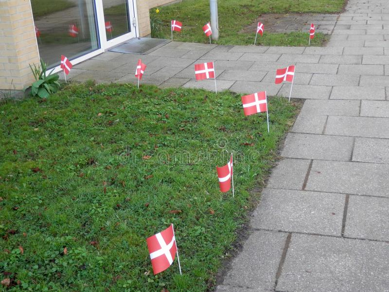 Danish flags in grass verge. Danish paper flags in grass verge for birthday celebration stock photos