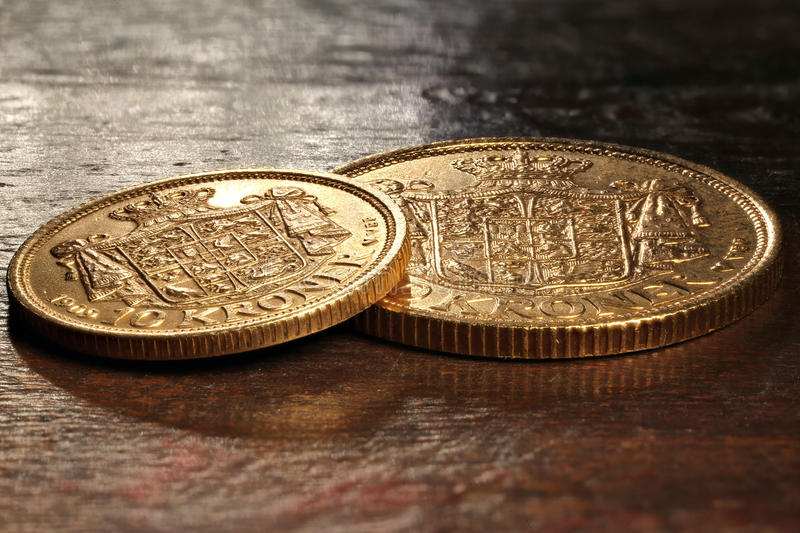 Danish gold coins royalty free stock images