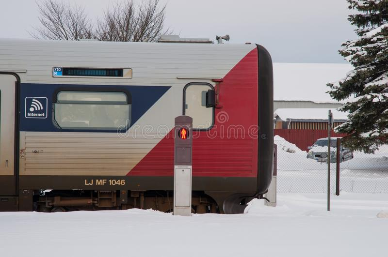 Danish IC2 train at Sollested train station royalty free stock photography