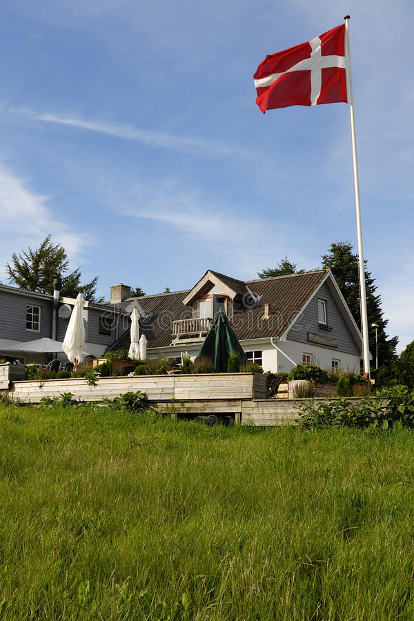 Download Danish Inn with Flag stock photo. Image of grass, exterior - 10401968