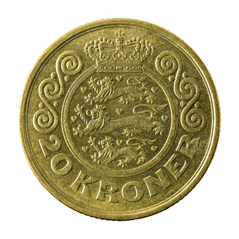 20 danish krone coin 1991 obverse. Isolated on white background stock images