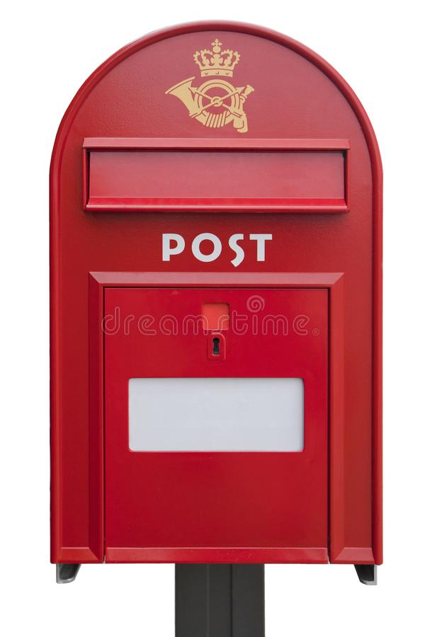 Danish mail box on white background royalty free stock images