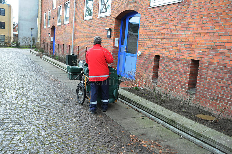 DANISH MAIL MAN. Kastrup_ Copenhagen_Denmark _28. February 2017_ Danish mail man or postman . Photo. Francis Dean/Deanpictures stock photography