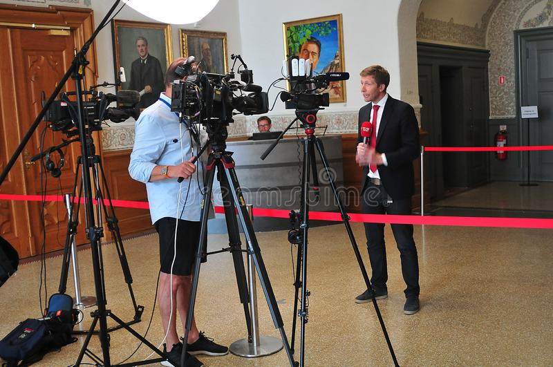 DANISH MEDIA COVERING NEW GOVT MEETING IN COPENHAGEN. Copenhagen /Denmark./ 11 June 2019/ . Denmark`s antional media t chrisiasn borg covering social democrat stock image