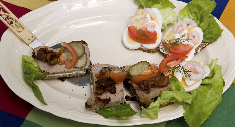 Download Danish open sandwiches stock photo. Image of green, close - 3894970