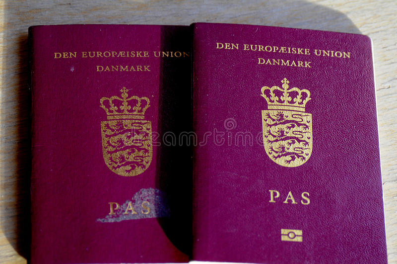 DANISH PASSPORT_DANISH EUROPEAN PASSPORT. Copenhagen / Denmark_ 12 January 2017 - Danish passport Danish european passports Photo. Francis Joseph Dean/ royalty free stock images