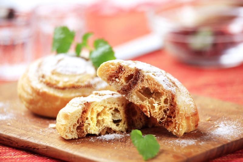 Danish pastries. With nut filling - closeup royalty free stock photography