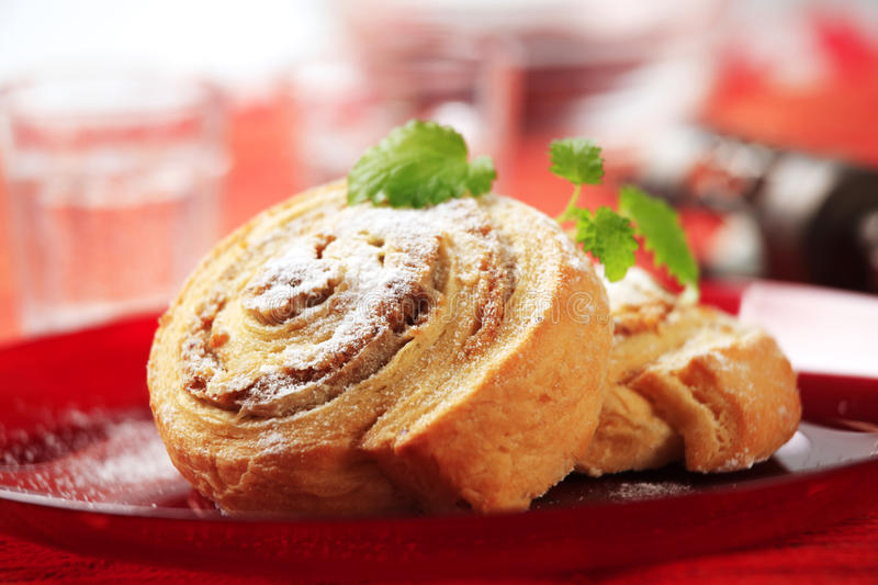 Danish pastries. With nut filling - closeup royalty free stock image