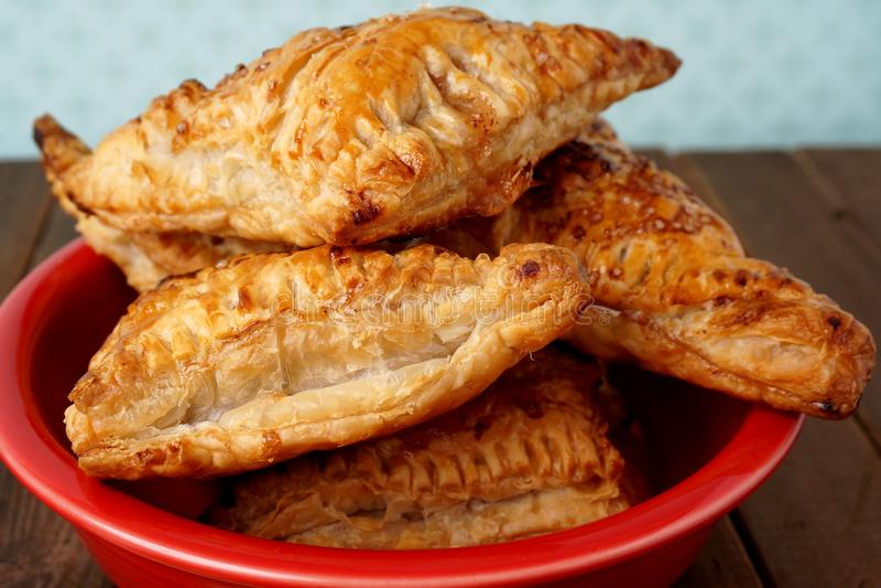 Danish pastries, apple pockets stock photography