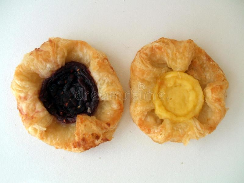 Danish pastries with custard and jam. Bakery or supermarket products of Danish pastry royalty free stock photography