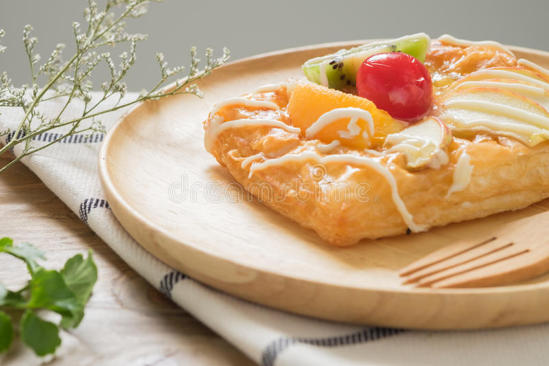 Danish Pastries with Fruit. Close up Danish Pastries with Fruit stock image