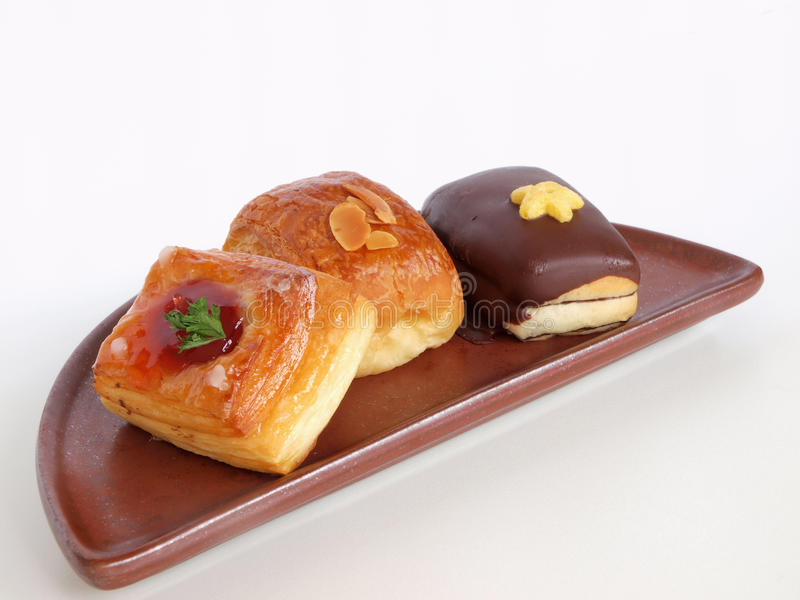 Danish Pastries on Unique Plate royalty free stock photos