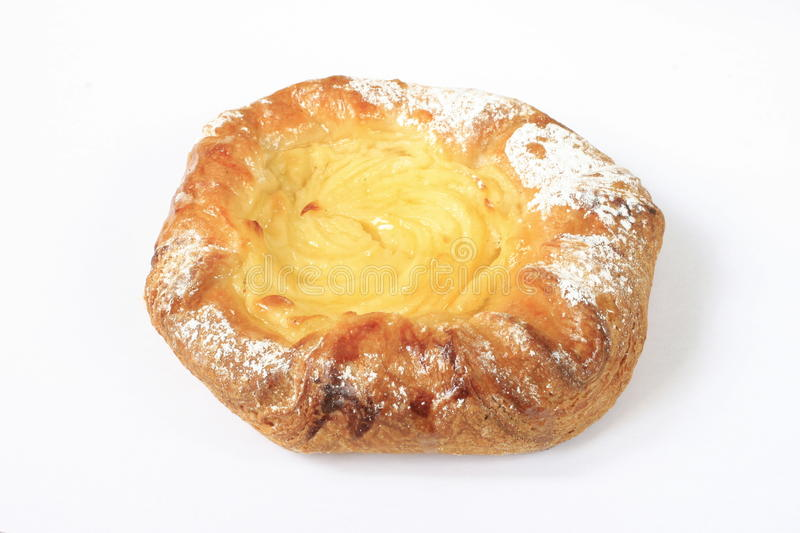 Danish pastry. Pastries with pudding on a white background royalty free stock photography
