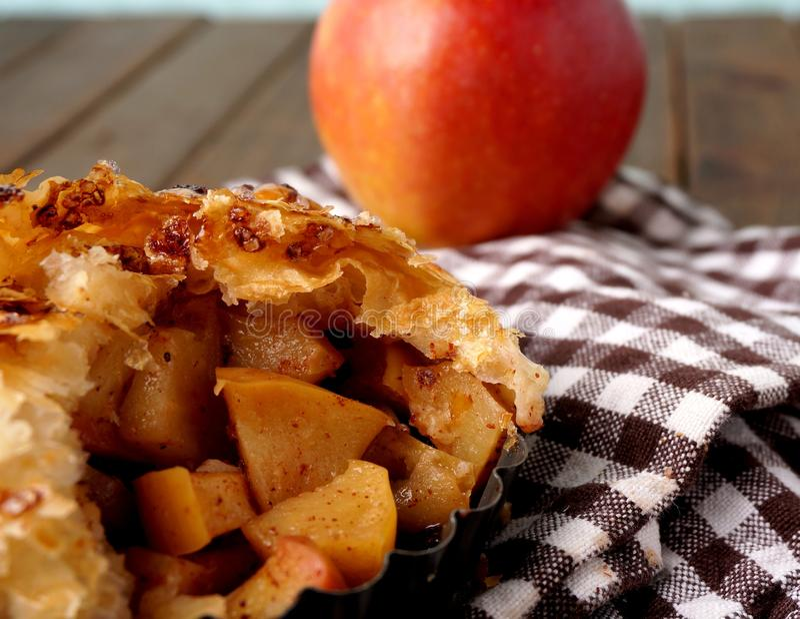 Danish pastry. Apple pie. Danish pastries. apple pie. Mile high. Macro stock photos