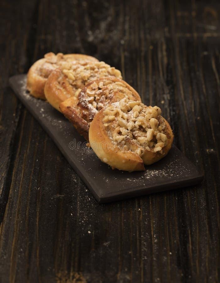 Danish pastry on black stock photo