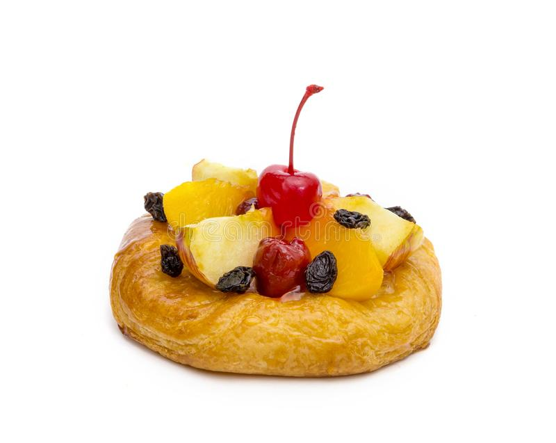 Danish pastry with fruits isolated on white background.  royalty free stock photo